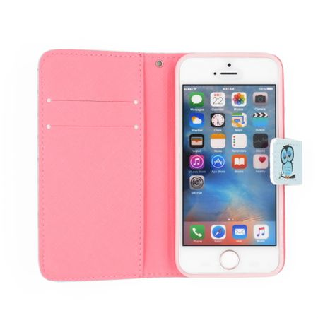 iPhone 7 Plus Leder Etui Eule Tasche Hülle Flip Cover Case BLAU – Bild 5