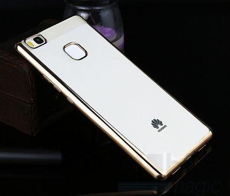 Huawei P9 Lite Metallic Gummi TPU Silikon Case Hülle Schutzhülle Cover Klar GOLD – Bild 2