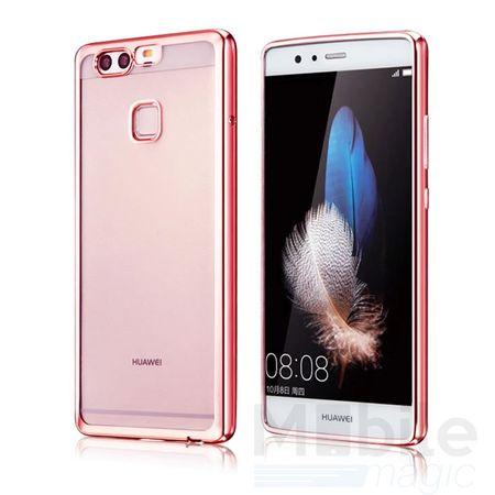 Huawei P9 Plus Metallic Gummi TPU Silikon Case Hülle Schutzhülle Cover Klar ROSÉGOLD – Bild 1