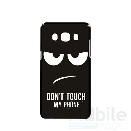 Samsung Galaxy J5 2016 DON'T TOUCH MY PHONE Gummi TPU Hülle Silikon Case Cover SCHWARZ