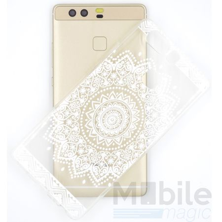 Huawei Honor 8 Indian Mandala Gummi TPU Silikon Case Hülle TRANSPARENT WEISS – Bild 2