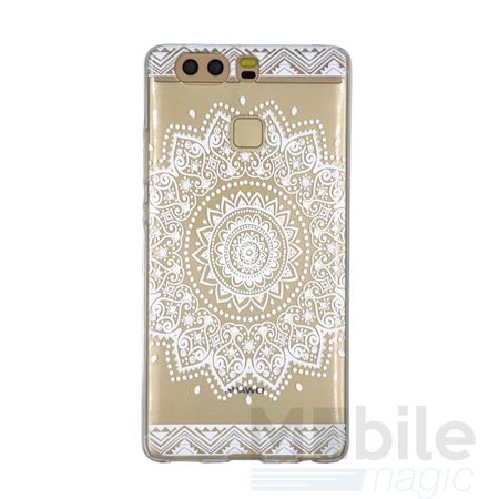 Huawei Honor 8 Indian Mandala Gummi TPU Silikon Case Hülle TRANSPARENT WEISS – Bild 1