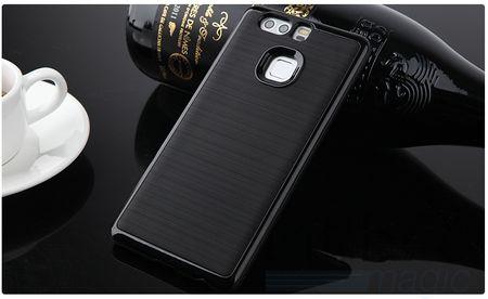 Huawei P9 Plus Hybrid Hard Case PC + TPU Hülle Cover SCHWARZ – Bild 2