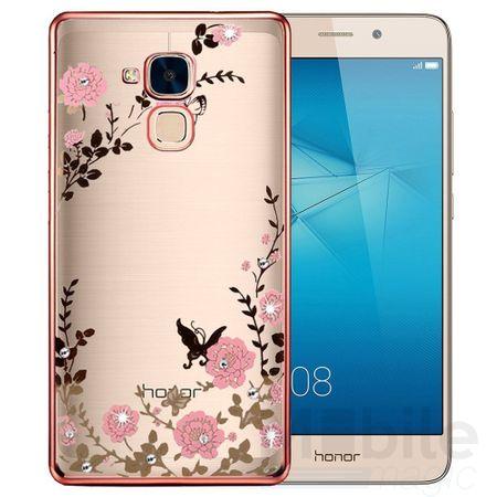 Huawei Honor 5C Edles Glitzer Blumen Gummi TPU Silikon Case PINK – Bild 1