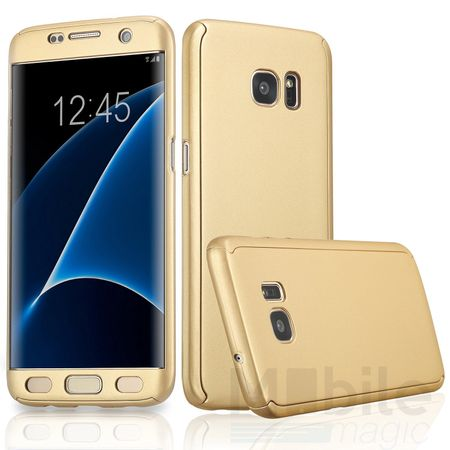 Samsung Galaxy S7 Komplett Schutz Case + Panzerglas Full Protection Cover Hülle GOLD – Bild 1