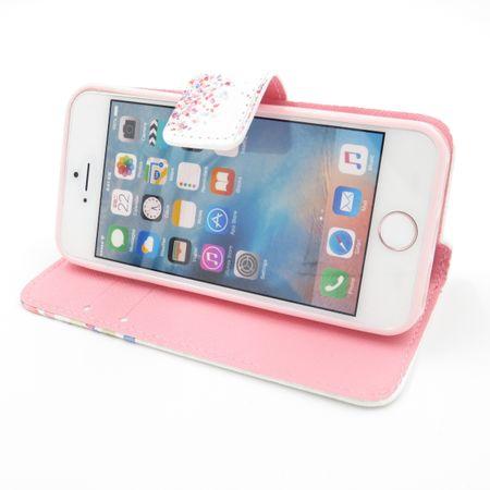 iPhone 7 Plus Bunte Blumen Blüten Leder Etui Tasche Hülle Case WEISS – Bild 4