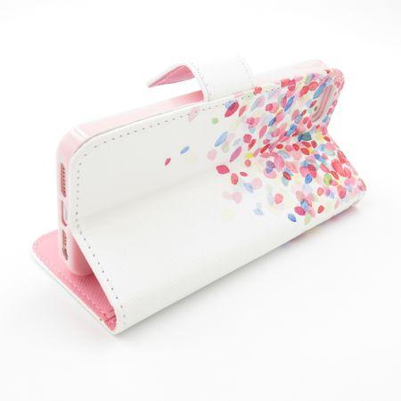iPhone 7 Plus Bunte Blumen Blüten Leder Etui Tasche Hülle Case WEISS – Bild 5