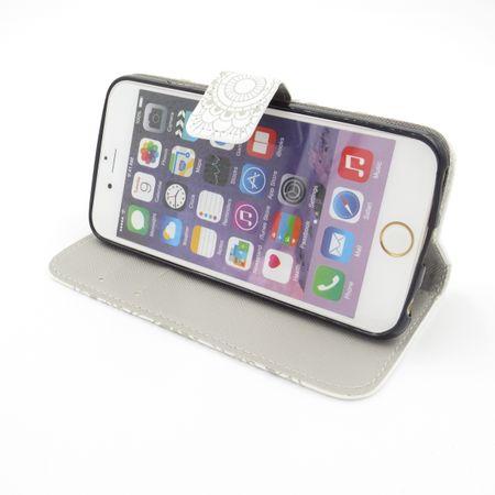iPhone 7 Mandala Henna Leder Etui Tasche Hülle Case WEISS – Bild 3