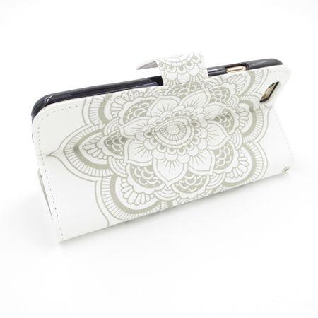 iPhone 7 Mandala Henna Leder Etui Tasche Hülle Case WEISS – Bild 5