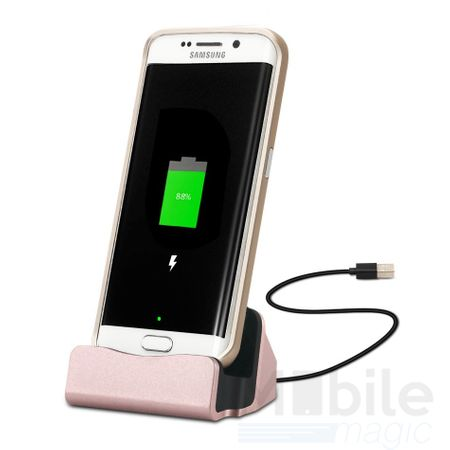 Universal Metall Docking Station Alu micro USB Ladestation ROSÉGOLD / PINK