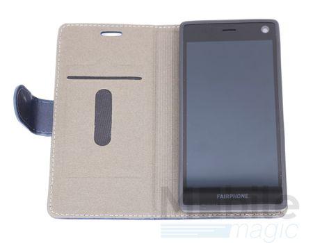 FairPhone 2 Luxus Stoff Leder Flip Etui Tasche Hülle mit Kartenfach BLAU / HELLBLAU / SKYBLUE – Bild 4
