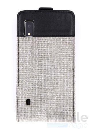 FairPhone 2 Canvas Stoff Leder Flip Etui Tasche Hülle GRAU / HELLGRAU – Bild 3