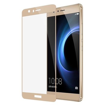 Huawei Honor 8 RANDLOS Panzerglas Glas Schutzfolie Schutzglas Curved Tempered Glass GOLD – Bild 1
