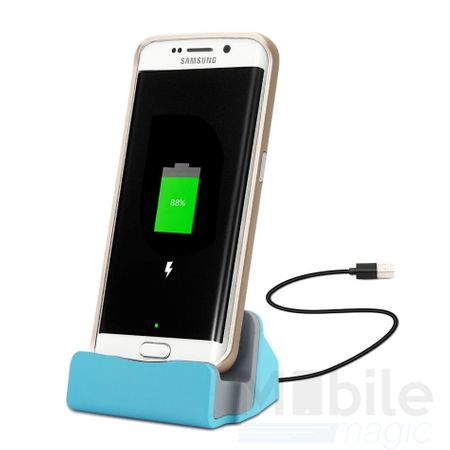 Universal Metall Docking Station Alu micro USB Ladestation BLAU
