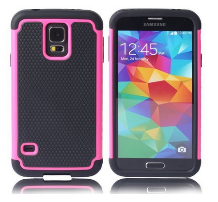 Samsung Galaxy S5 Shock Proof Case Hard Cover Gummi TPU Hardcase Hülle SCHWARZ PINK ROSA