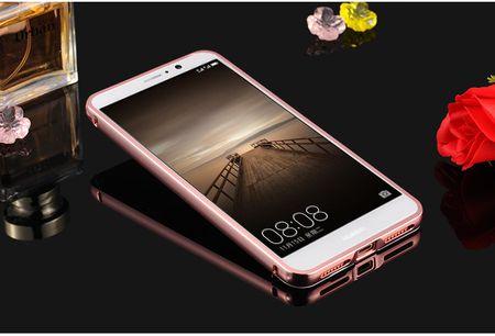 Huawei Mate 9 Alu-Bumper Mirror mit Spiegel-Rücken Metall Bumper Case Hülle Aluminium ROSÉGOLD – Bild 2