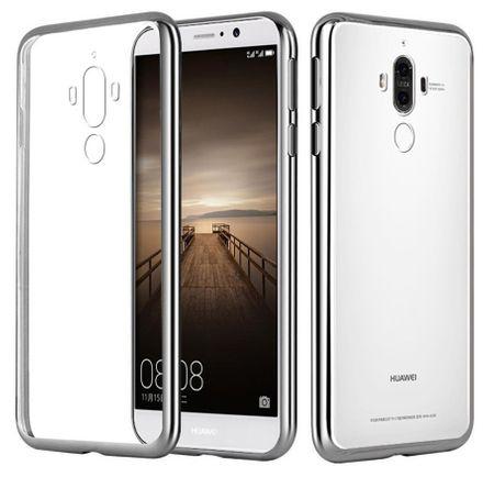 Huawei Mate 9 Metallic Gummi TPU Silikon Case Hülle Schutzhülle Cover Klar SILBER – Bild 2