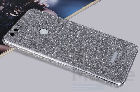 Huawei Honor 8 Full Body Glitzer Sticker Bling Skin in SILBER – Bild 2