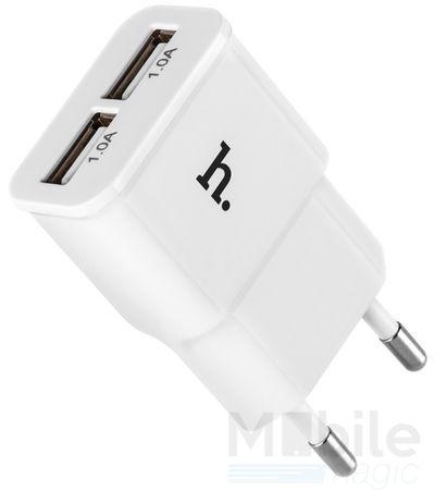 Hoco USB Ladegerät 2.1A Dual Netzteil Ladestecker Ladeadapter 2-fach WEISS – Bild 1