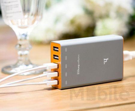 Hoco 5-fach USB Ladegerät 5A Netzteil Ladestecker 5-Port Ladeadapter ORANGE – Bild 4