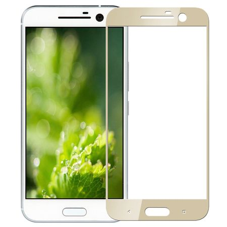 HTC 10 RANDLOS Panzerglas Glas Schutzfolie Schutzglas Curved Tempered Glass GOLD