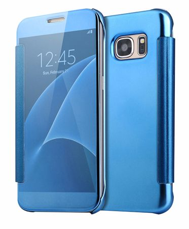 Samsung Galaxy S6 Edge Clear Window View Case Cover Spiegel Mirror Hülle BLAU / HELLBLAU – Bild 1