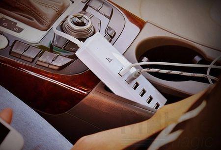 Hoco 6-Fach USB Auto KFZ Ladegerät 6 Port 13A WEISS – Bild 3
