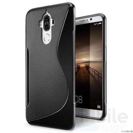 Huawei Mate 9 S-Line TPU Gummi Silikon Case Welle Hülle SCHWARZ