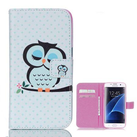 Samsung Galaxy S6 Leder Etui Eule Tasche Hülle Flip Cover Case BLAU – Bild 2