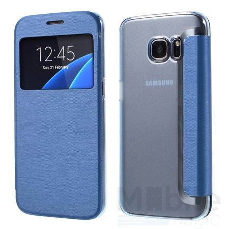 Samsung Galaxy S7 Edge Window View Cover Flip Etui Fenster Hülle Leder Case Tasche BLAU