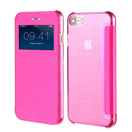 iPhone 7 Plus Window View Cover Flip Etui Fenster Hülle Leder Case Tasche PINK / ROSA