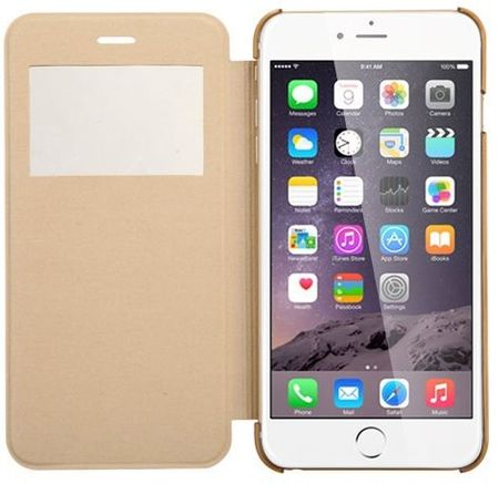 iPhone 7 Plus Window View Cover Flip Etui Fenster Hülle Leder Case Tasche GOLD – Bild 2