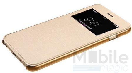 iPhone 6S Plus / 6 Plus Window View Cover Flip Etui Fenster Hülle Leder Case Tasche GOLD – Bild 3