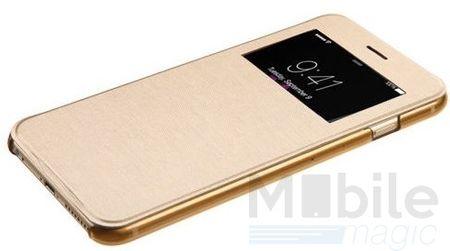 iPhone 6S Plus / 6 Plus Window View Cover Flip Etui Fenster Hülle Leder Case Tasche GOLD – Bild 3