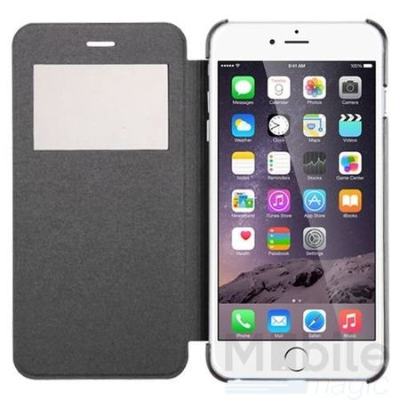 iPhone 6S Plus / 6 Plus Window View Cover Flip Etui Fenster Hülle Leder Case Tasche SCHWARZ – Bild 4
