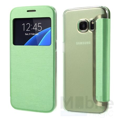 Samsung Galaxy S7 Window View Cover Flip Etui Fenster Hülle Leder Case Tasche GRÜN / MINZGRÜN
