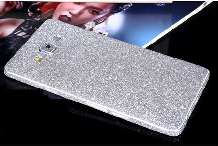 Samsung Galaxy A5 2015 Full Body Glitzer Sticker Bling Skin in SILBER – Bild 1