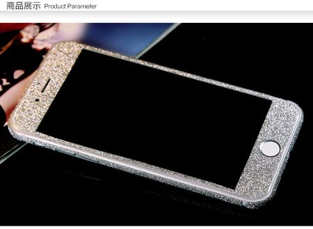 iPhone 7 Full Body Glitzer Sticker Bling Skin in SILBER – Bild 2