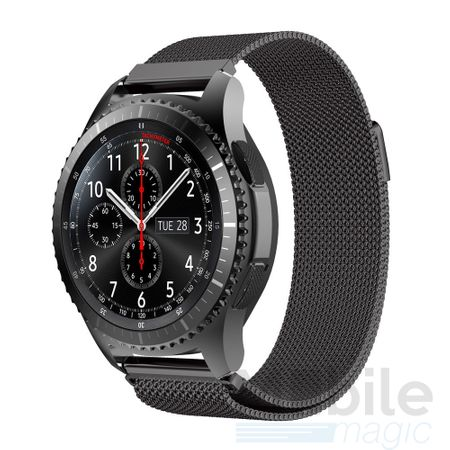 Samsung Gear S3 Classic / Frontier ANKI Milanaise Edelstahl Armband SCHWARZ – Bild 1
