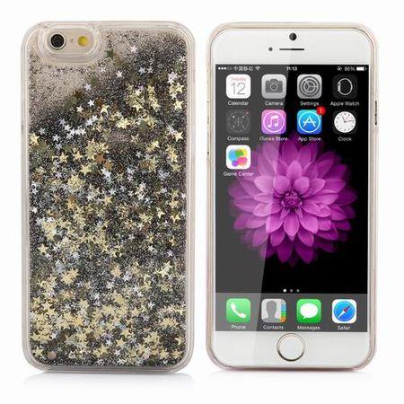 iPhone 7 Plus Treibsand Hard Case Hülle im Liquid Style Hardcase mit Sternen SCHWARZ