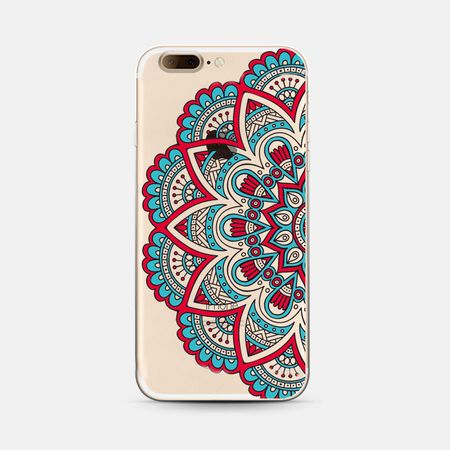 iPhone 7 Plus Indian Mandala Gummi TPU Silikon Case Hülle BLAU / ROT