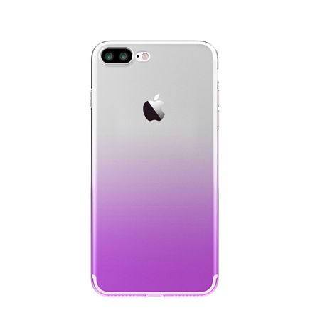 iPhone 7 Plus Gummi TPU Silikon Clear Case Hülle Klar LILA VIOLETT TRANSPARENT
