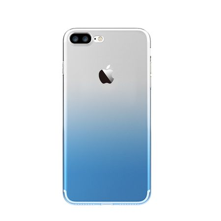 iPhone 7 Plus Gummi TPU Silikon Clear Case Hülle Klar BLAU TRANSPARENT