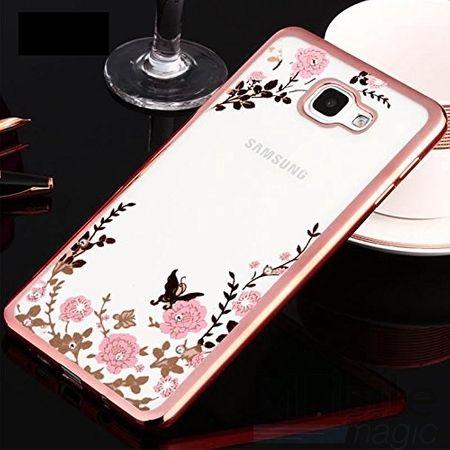 Samsung Galaxy A3 2017 Glitzer Blumen Hülle TPU Silikon Case PINK Roségold – Bild 2
