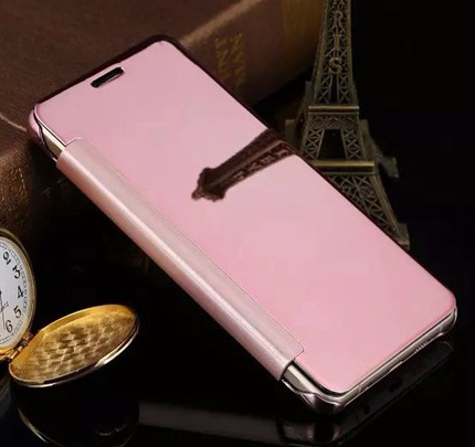 Samsung Galaxy A3 2017 Clear Window View Case Cover Spiegel Mirror Hülle ROSÉGOLD Pink – Bild 2