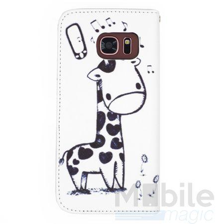 Samsung Galaxy A3 2017 Leder Etui Giraffe Tasche Flip Case Hülle Cover WEISS – Bild 2