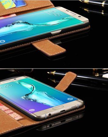 Samsung Galaxy S6 Edge Plus Flip Etui Tasche Hülle Leder Case mit Kartenfach WEISS – Bild 2