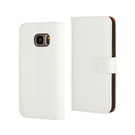 Samsung Galaxy S6 Edge Plus Flip Etui Tasche Hülle Leder Case mit Kartenfach WEISS – Bild 1