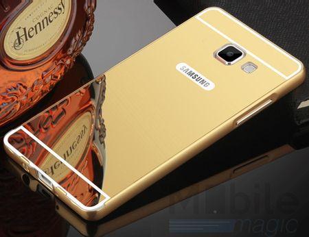 Samsung Galaxy A5 2017 Alu-Bumper Mirror mit Spiegel-Rücken Metall Bumper Case Hülle Aluminium GOLD – Bild 1