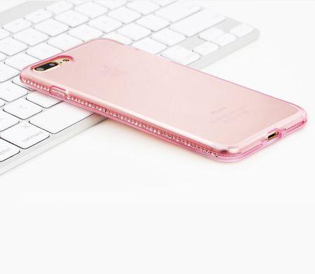 iPhone 7 Plus TPU Gummi Hülle Klar Silikon Crystal Clear Case Glitzer Strass PINK / ROSA – Bild 2